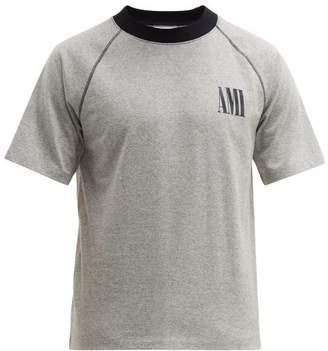 Ami Logo Print Cotton T Shirt - Mens - Navy