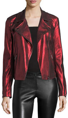 Neiman Marcus Leather Collection Metallic Suede Motorcycle Jacket