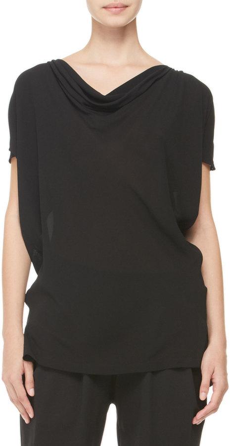 Donna Karan Draped Cold-Shoulder Blouse