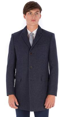 Red Herring Blue Donegal 3 Button Slim Fit Overcoat