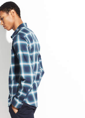 Ombre Shadow Plaid Long Sleeve