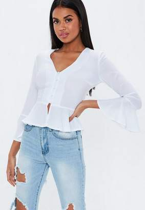 Missguided White Crepe Button Peplum Blouse