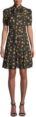 Michael Kors Tie-Neck Short-Sleeve Rose-Print Georgette Day Dress