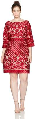 Gabby Skye Women's Plus Size Full Figured Decorative Crochet Lace Sheath Dress