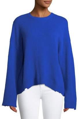 RtA Emmet Crewneck Long-Sleeve Boxy Cashmere Sweater