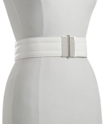 Dolce & Gabbana white quilted patent leather belt