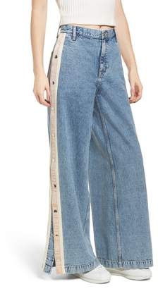 Topshop MOTO Side Button Wide Leg Nonstretch Jeans