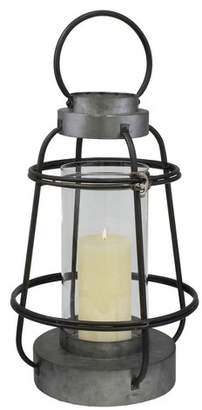 CKK Home Decor Stonebriar Industrial Metal Hurricane Candle Lantern, Tall