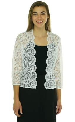 Calvin Klein Women's Three Quarter Sleeve Sheer Lace Shrug M