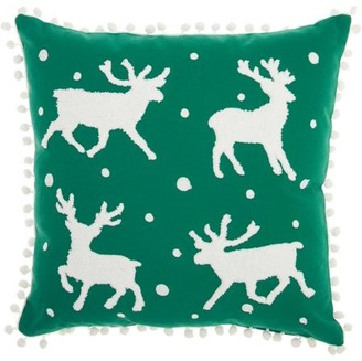 Nourison Home For The Holiday Reindeer Green Throw Pillow