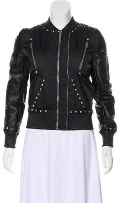 The Kooples Studded Leather-Trimmed Jacket