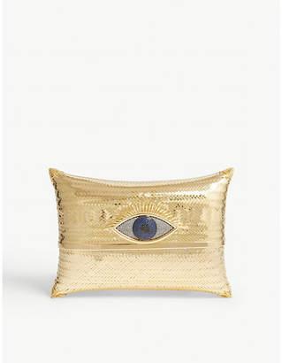 Begum Khan Gold Woven Evil Eye Cushion Minaudiere Clutch Bag