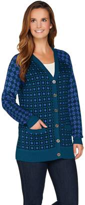 C. Wonder Geo Jacquard Knit Button Front Boyfriend Cardigan