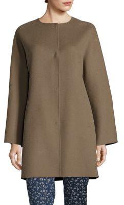 Weekend Max Mara Uncino Doppio Virgin Wool Collarless Coat $995 thestylecure.com