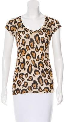 Joseph Leopard Print Cap Sleeve Top