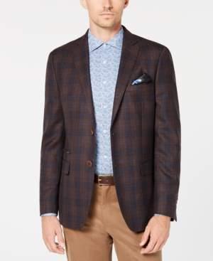 Tallia Men's Big & Tall Slim-Fit Brown/Navy Plaid Sport Coat