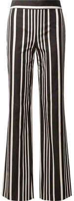 Alice + Olivia Johanna Striped Cotton-blend Wide-leg Pants - Black