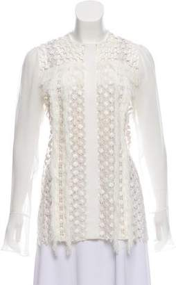 Chloé Fringe-Trimmed Guipure Lace Top w/ Tags