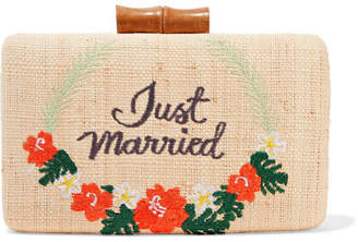 Kayu Just Married Embroidered Woven Straw Clutch - Sand