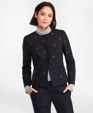 Brooks Brothers Rose-Embroidered Hopsack Peplum Jacket