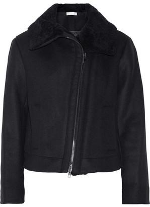 Vince - Shearling-trimmed Wool-blend Jacket - Black $750 thestylecure.com