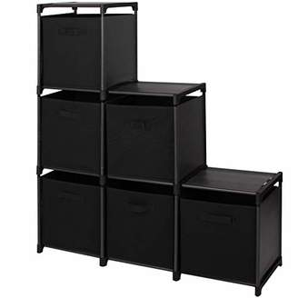 BEIGE Mockins 3 Tier Storage Rack Bookcase Shelf Bundle with 6 Foldable Cube Storage Bins That Perfectly Fit Into The 6 Cube Closet Organizer Cabinet - Black Bins ... ... ... ...