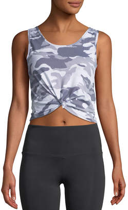 Onzie Knotted Camo-Print Activewear Crop Top