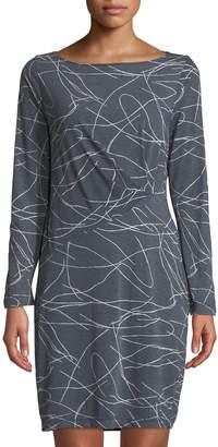 Three Dots Squiggle-Print Burnout T-Shirt Dress