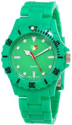 "Fancy Face Women's FF0096GR Candy Collection ""Fiona"" Green Sport-Bezel Plastic Bracelet Watch"