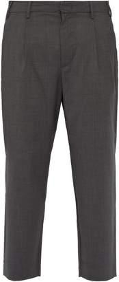 Barena Venezia - Cropped Wide Leg Virgin Wool Trousers - Mens - Grey
