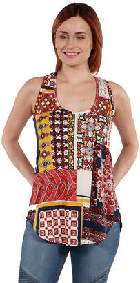 24/7 Comfort Apparel 24Seven Comfort Apparel Evie Red Patchwork Sleeveless Tunic Top - Plus