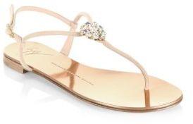 Giuseppe Zanotti Nuvo Rock Swarovski Flat Sandals $495 thestylecure.com