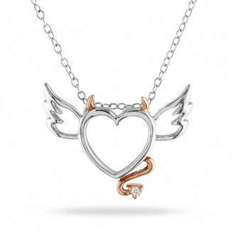 Zales Diamond Accent Devil Heart with Wings Pendant in Two-Tone Sterling Silver