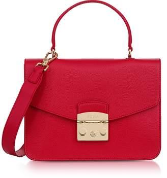 Furla Ruby Red Lizard Printed Leather Metropolis Small Top-Handle Shoulder Bag