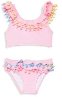 Pilyq Little Girl's& Girl's Pom-Pom Trim Bikini