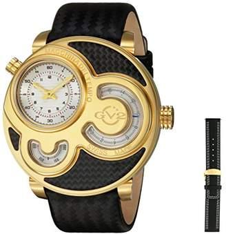 GV2 by Gevril Macchina Del Tempo Mens Swiss Quartz Carbon Fiber Pattern Black Leather Strap Watch