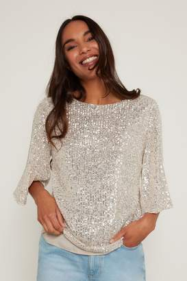 F&F Womens Neutral Sequin Sleeve Top - Natural