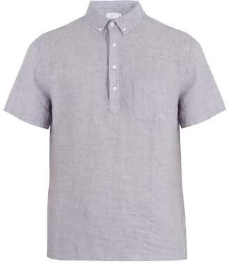 Onia - Josh Short Sleeved Linen Polo Shirt - Mens - Blue