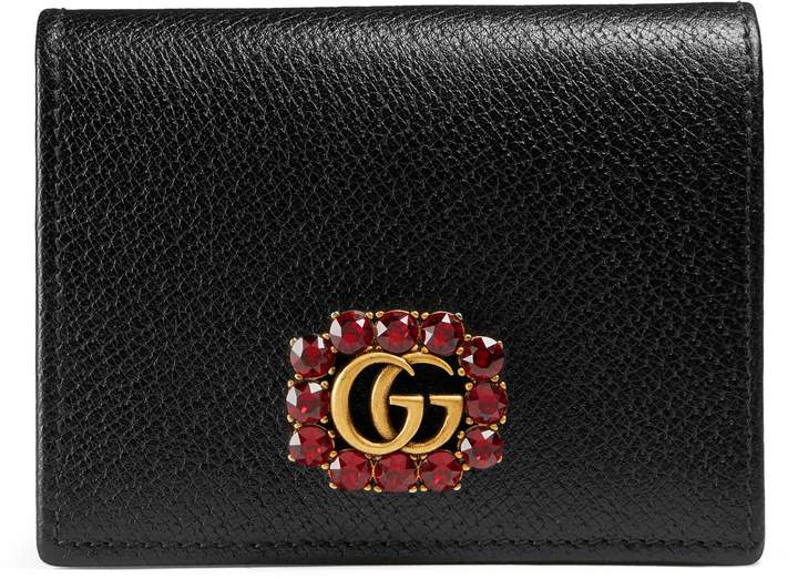 Leather card case with Double G and crystals