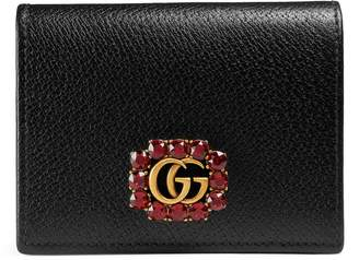 Gucci Leather card case with Double G and crystals