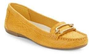 Anne Klein Noris Snake-Embossed Leather Loafers