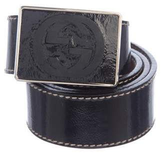 Gucci Pattent Leather GG Belt