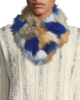 Adrienne Landau Multicolor Fox Fur Clip Scarf