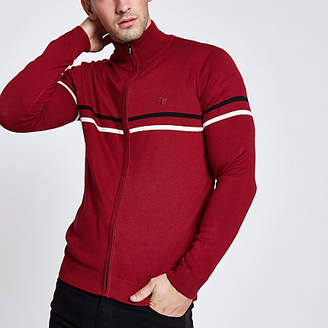 River Island Mens Red slim fit funnel neck zip up jumper