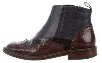 Clergerie Patent Leather Brogue Boots Navy Patent Leather Brogue Boots