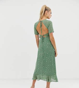 Fashion Union Tall open back midi dress in spot