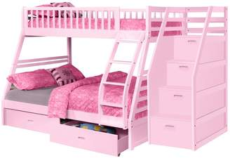 True Contemporary Pink Twin over Full Bunk Bed with Stairway Chest and Storage Drawers