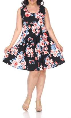White Mark Women's Plus Size Flower Fit and Flare Dress