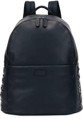 Giorgio Armani Leather Backpack, Blue