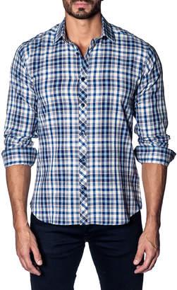 Jared Lang Madras-Plaid Textured Sport Shirt